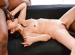 Asian,Blowjob,Japanese,Trimmed Pussy,Small Tits,Interracial Rough trio with two black males for...
