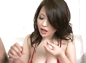 Asian,MILF,Blowjob,Lingerie,hot milf,red lingerie,group action,mmf,cock sucking,asian,threesome,blowjob,handjob,cumshot Yuu Haruka gets jizz on face after...