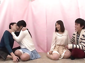 teen,japanese double date participants to exchange...