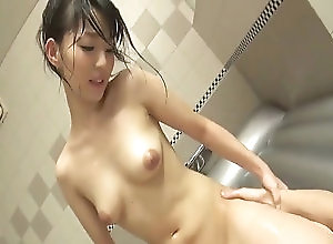 Asian,Blowjob,Hardcore,bathroom,hand work,pov,oiled body,massage,nice ass,position 69,dick riding,creamed pussy Japanese doll blows cock in the tub...