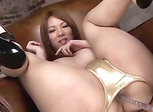 Asian,Facial,gold bikini,busty,oiled body,sex toys,anal insertion,fingering,cock sucking,cum in mouth,asian,japanese Amazing masturbation show with curvy...