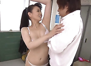 creampie taking her costume off and the Asian...