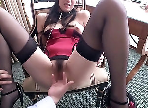 asian,brunette,fingering,lingerie,stockings a beautiful young lady of obscene...