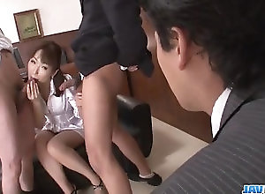 Asian,Blowjob,Japanese,Office Sex,Group Sex,threesome,hot milf,hand work,double blowjob,cum in mouth Nonoka Kaede, Asian milf, deals two...